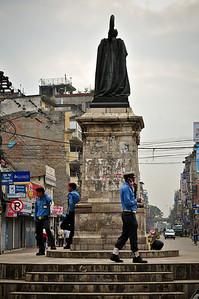 First prime minister of Nepal. London-educated. Policemen below direct traffic