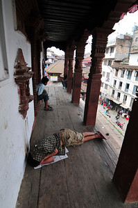Taking a nap in the temple. I've done that in my lifetime :)