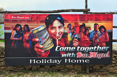 What's funny is that people in these villages have probably never been to a bar that looks like that. We couldn't find any in Kathmandu, let alone villages on the trek. So this is an exercise in consumer demand creation of 2nd degree - drink this beer because young and attractive people in other countries do. Then again, how many rednecks go out with Coors Light girls?