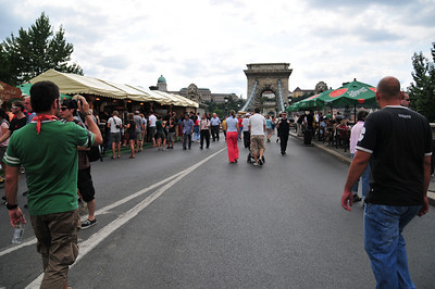 They close the bridge to traffic and turn it into one large tourist fair.