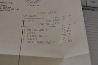 USD/TRY = 1.25 => breakfast cost 50 USD. This is INSANE. I've seen this before in the Bombay hotel - they charge crazy prices knowing that most people stay there on business and will expense it.