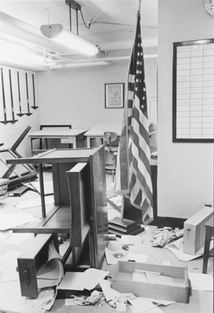 ROTC office after breakin - Clark Hall, University Archives, 10_1969, call number:  90A:7(3) © UB Archives   Please contact University Archives at lib-archives@buffalo.edu for permission to use this image.