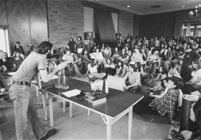 Attica Riot protest - Reg Gilbert in foreground,University Archives, 1969, call number: 90A:5(5) © UB Archives   Please contact University Archives at lib-archives@buffalo.edu for permission to use this image.