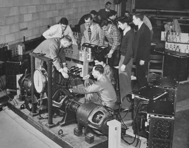Engineering - Parker checking wiring for DC generator test, University Archives, call number: 85S:3(38) © UB Archives   Please contact University Archives at lib-archives@buffalo.edu for permission to use this image.