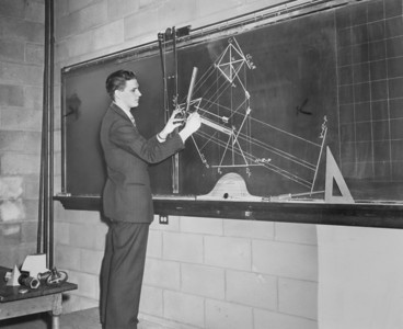 "Engineering - Parker ""demonstration of a problem in descriptive geometry"", University Archives, call number: 85S:3(17) © UB Archives   Please contact University Archives at lib-archives@buffalo.edu for permission to use this image."