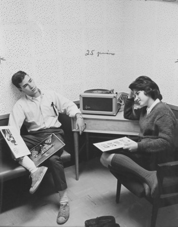 Two dozy coeds listen to Sinatra, University Archives, call number: 85X:9(2) © UB Archives   Please contact University Archives at lib-archives@buffalo.edu for permission to use this image.