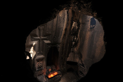 On the second floor of the church there is a hole, allowing you to see the first floor. Very cool.