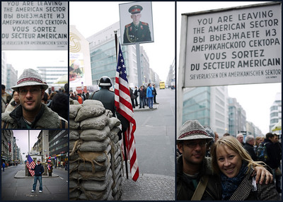 Checkpoint Charlie. The guys with flags are asking for money to take a picture with them. And they have the nerve to yell at tourists who want to take a picture with the checkpoint in the background without paying them. I took a picture just to spite these fuckers. They covered themselves with flags.