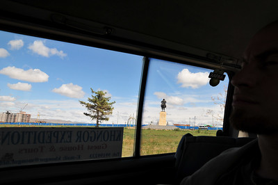 We are at the airport - named after Chingiz Khan. His statue is outside. Mongols are taught that he was this great guy. Yuk