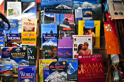 Interesting selection of books at the airport store - half are tourist guides to the country; half are sex guides