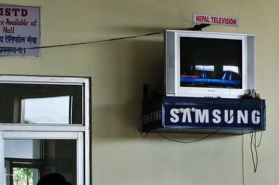 TV in the lounge of Pokhara airport. Sign there in case any of you foreigners decide to change the chanel