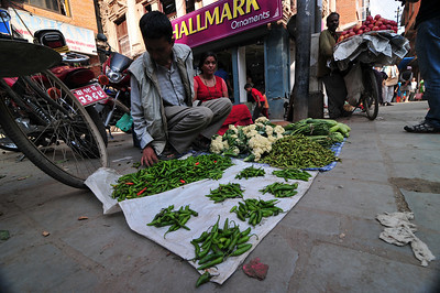 What I found amazing is how produce sellers in poor countries specialize in one fruit or vegetable. This guy sells peppers