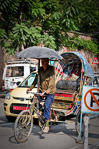 I love the umbrellas they fix to the rickshaw
