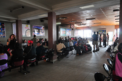 At the waiting lounce in the airport