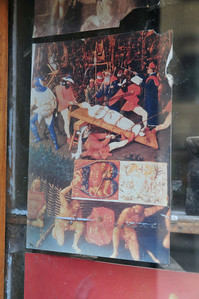 Very interesting medieval painting of teeth pulled. Is it supposed to say how much more advanced (100 yrs?) this clinic is?