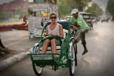 Phnom Penh Sara on cyclo tour