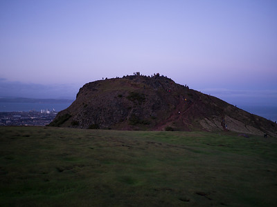 Looking towards the top of Arthur's Seat with Edinburgh in the background