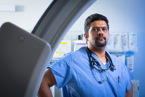 Portrait of Dr. Vijay Iyer in a Gates Vascular Institute Cath Lab at the CTRC<br /> <br /> Photograph: Douglas Levere