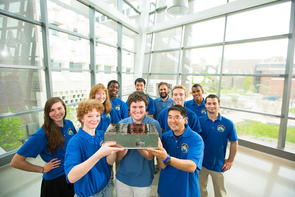 Engineering Student Members of the Nanosatellite Program in Davis Hall<br /> <br /> Photographer: Douglas Levere
