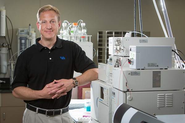 Portrait of Richard Browne of Biotechnical and Clinical Laboratory Sciences in his Sherman Hall Lab<br /> <br /> Photographer: Douglas Levere