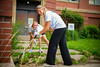 Left to right, Kristen Sharkey and Dana Musil. Day of Caring with the School of Management in the University Heights<br /> <br /> Photographer: Douglas Levere