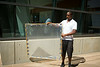Civil Engineering Student, Deshawn Henry With the Solar Water Porject at JarvisHall<br /> <br /> Photographer: Douglas Levere