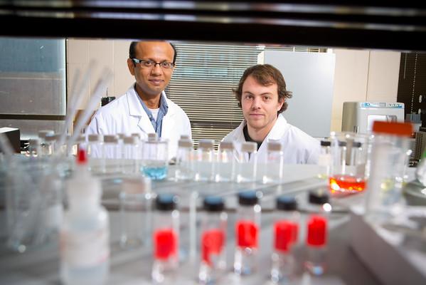 Engineering faculty member Debanjan Sarkar with graduate student Michael Hill, in Bonner Hall <br /> <br /> Photographer: Douglas Levere