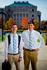 Portrait of Cole Staines and Tyler Maxwell, Dental School students, at Harriman Quad<br /> <br /> Photographer: Douglas Levere