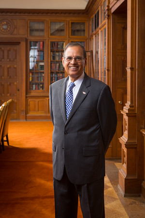 University at Buffalo President Satish Tripathi in the James Platt White Room inside the Health Science Library on the South Campus<br /> <br /> Photographer: Douglas Levere