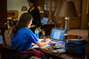 Students studying in the Health Sciences Library on South Campus<br /> <br /> Photographer: Douglas Levere