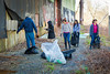 Students in the ARC 211 American Diversity and Design class in the School of Architecture and Planning cleaning Scajaquada Creek for the annual Shoreline Sweep