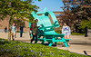 "Students on North Campus explore a sculptural installation titled ""Whippy,"" created by UB alum Michael Beitz. <br /> <br /> Photographer: Chad Cooper"