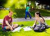 Students on UB's North Campus in May during finals week<br /> <br /> Photographer: Chad Chooper