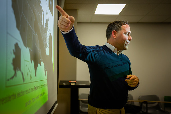 Michael Stefanone teaching a political communications course in Clemens Hall<br /> <br /> Photographer: Douglas Levere