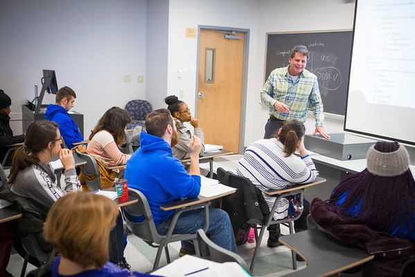 Andrew Sachs teaching a public speaking course in Talbert Hall<br /> <br /> Photographer: Douglas Levere
