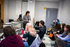 Professor  Laura Chiesa teaching a course in Clemens Hall<br /> <br /> Photographer: Douglas Levere