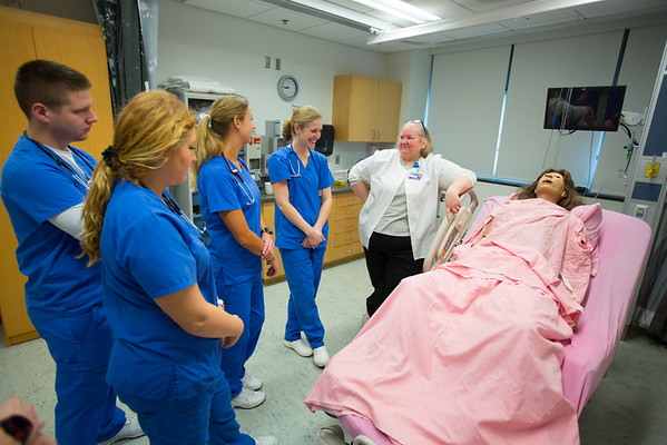 School of Nursing Birthing Simulation Class in the the Behling Simulation Center<br /> <br /> Photographer: Douglas Levere