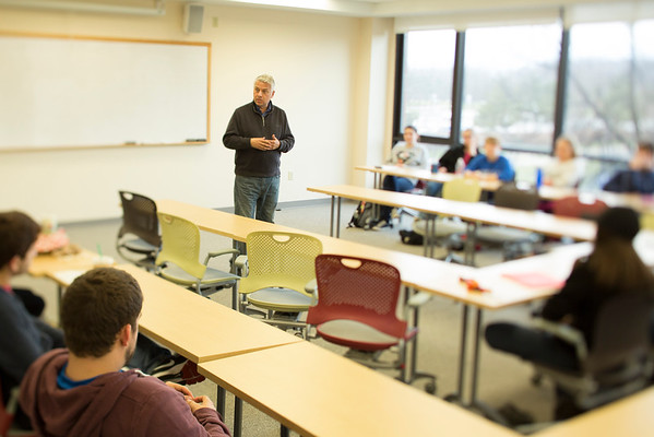 Marc Adler teaching an honors marketing class in Capen Hall<br /> <br /> Photographer: Douglas Levere