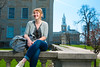 Portrait of Truman Scholar Madeline Britt in front of Crosby Hall<br /> <br /> Photography: Douglas Levere
