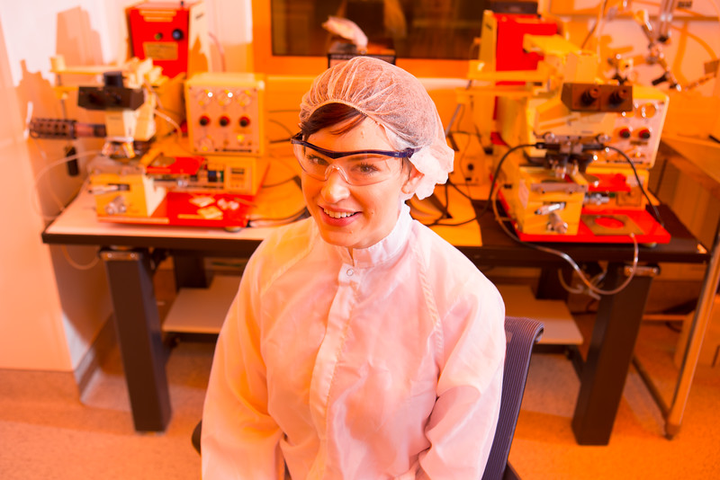 Goldwater Scholar and UB Engineering Student Anna Smith in the Davis Hall Clean Room<br />  <br /> Photographer: Douglas Levere