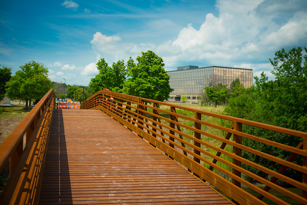 New bridge by Crofts Hall on North Campus<br /> <br /> Photographer: Douglas Levere