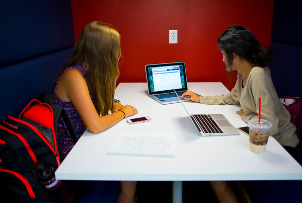 Students in renovated Silverman Library in Capen Hall<br /> <br /> Photographer: Douglas Levere