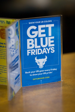 Get Blue Fridays banners in the Student Union<br /> <br /> Photographer: Douglas Levere