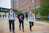 Students walking and studying on North Campus<br /> <br /> Photographer: Douglas Levere