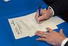 James Gardner and Medaille President Ken Macur sign the 3+3 agreement.<br /> <br /> Photographer: Douglas Levere