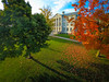 Aerial Photos of Parker Hall on the South Campus at Sunset.<br /> <br /> Photographer: Douglas Levere
