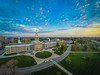 Sunset at Hayes Hall on the South Campus.<br /> <br /> Photograph: Douglas Levere