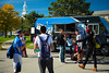 Students by Little Blue food truck by Diefendorf Hall on South Campus<br /> <br /> Photographer: Douglas Levere