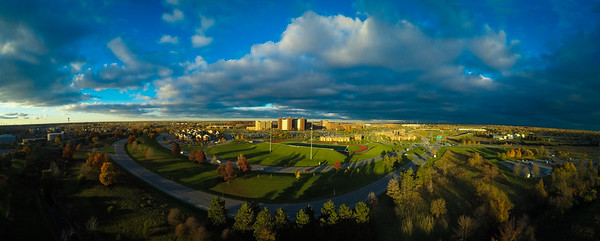 Panorama of North Campus at sunset<br /> <br /> Photographer: Douglas Levere