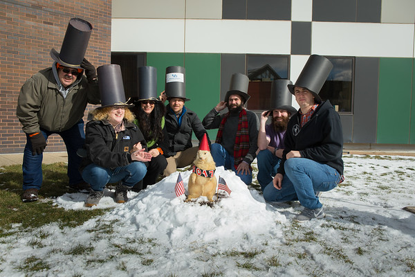 "Annual Department of Geology groundhog day celebration with ""Ridge Lea Larry""<br /> <br /> Photographer: Douglas Levere"